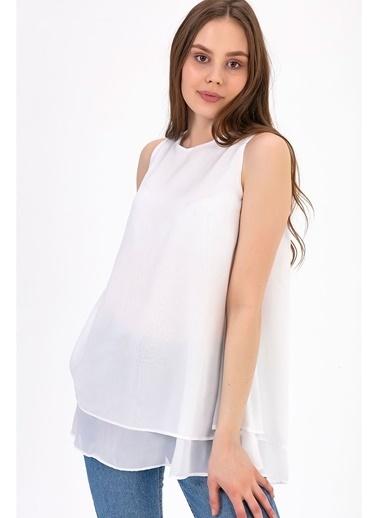 Tiffany&Tomato Sıfır Kol Astarlı Uzun  Şifon Bluz-Lila Ekru